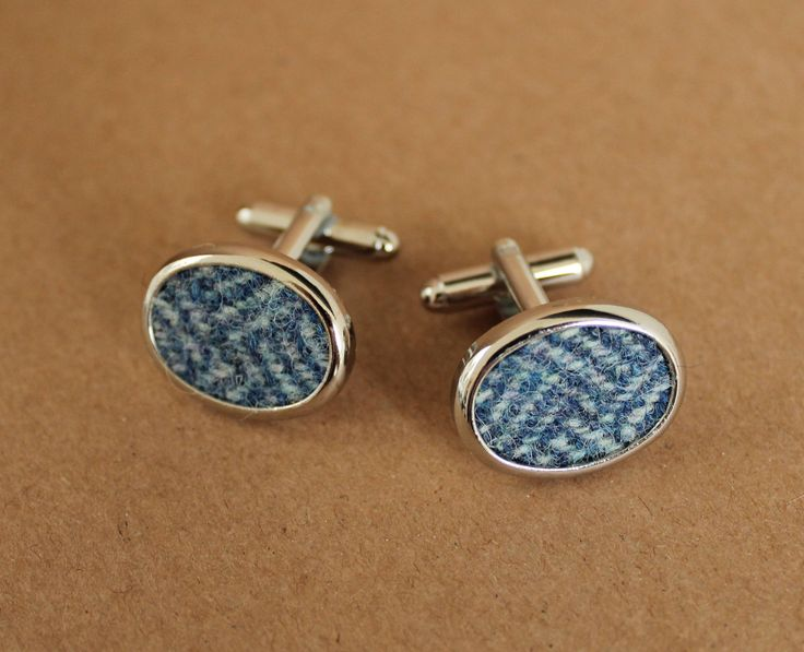 Tweed Cufflinks, Rhodium Plated Cuff Links with Blue Tweed Setting, Gift for Him, Silver Cufflinks, Wedding Cuff Links, Custom Cufflinks by DaisyBelleShop on Etsy