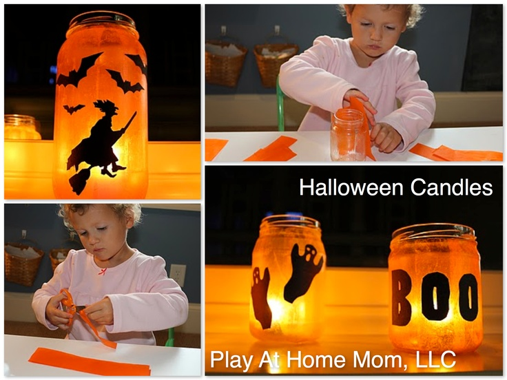 Halloween candles with tissue paper and decoupage glue