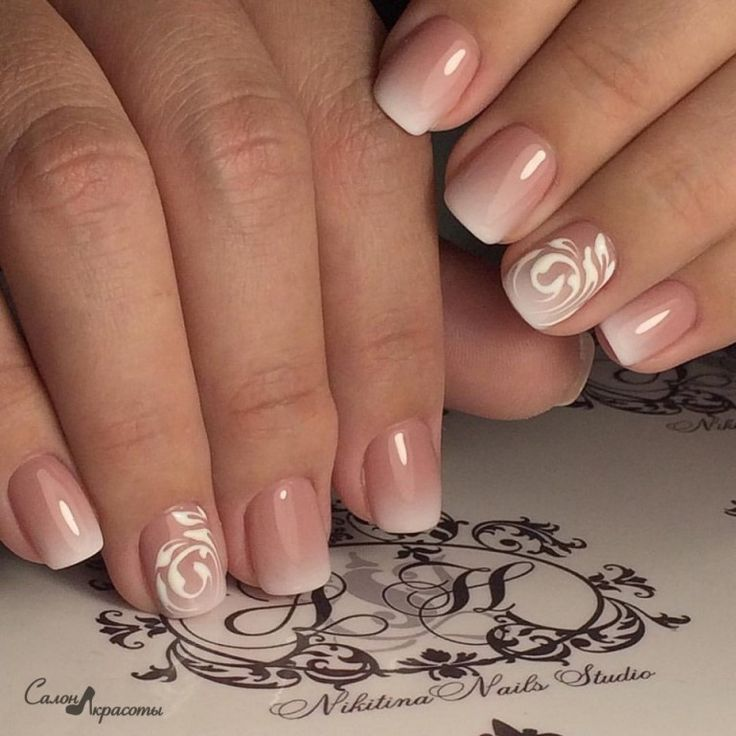 It's a delicate and sensual variation on the theme of french manicure in a gradient design. The combination of soft ...