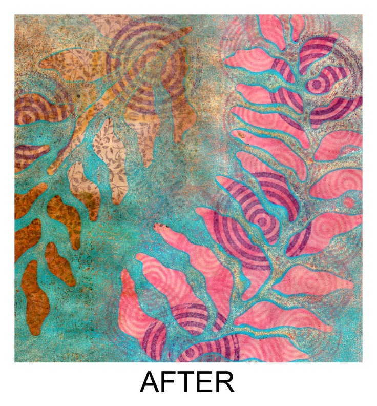 Are We There Yet?  Layered Gelli Arts Print  Reprinting over a Gelli print is a great way to build an exciting image. It often takes several layers of printing before achieving a result I like.