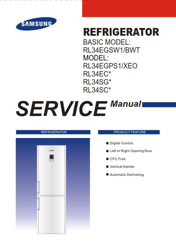 Samsung Rl34egsw1 Rl34egps1 Rl34ecps1 Rl34sgps1 Rl34scps1 Service Manual Service Samsung Refrigerator Service