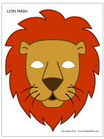 LION MASK - two free lion masks to print, a b&w mask to color, and a colored lion mask.