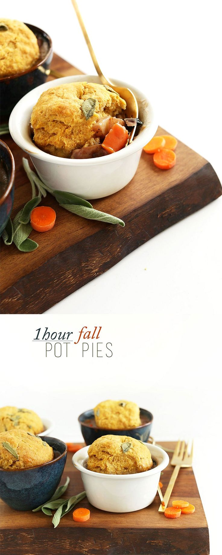 SIMPLE, 1 hour Vegan Pot Pies loaded with fall veggies and topped with PUMPKIN SAGE Biscuits! #vegan