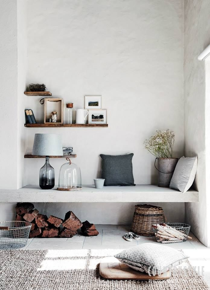 A reading nook with natural tones