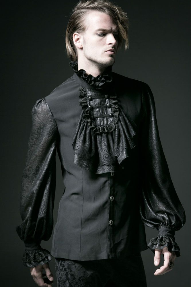 Goth Punk Rave shirt black shirt Men's Jabot baroque victorian WGT #PunkRave #LeisureShirts