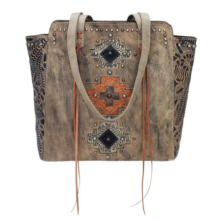 American West Distressed Charcoal Brown Navajo Soul Zip Top Tote - HeadWest Outfitters