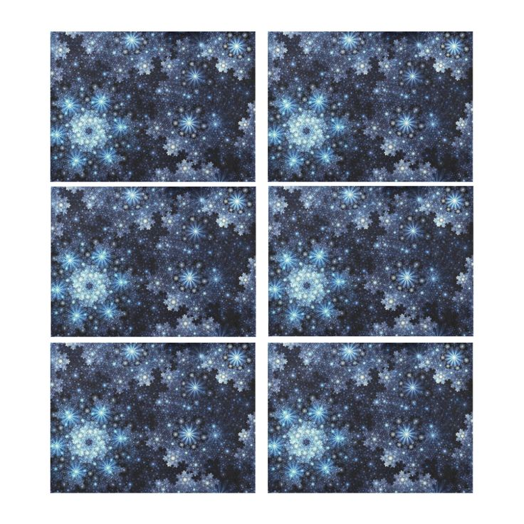 Wintery Blue Snowflake Pattern Placemat 14'' x 19'' (Six Pieces) l Four Pieces Also Available.