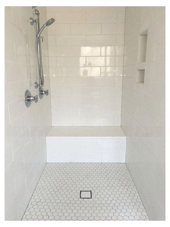 large white subway tile shower surround