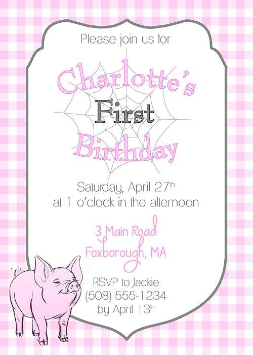 Charlottes Web Birthday Party Invitation. $15.00, via Etsy.