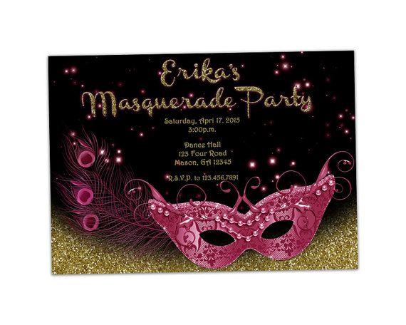 Printable Masquerade Invitation  Pink Gold by PartyPrintExpress