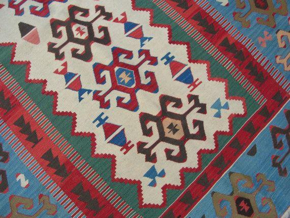Ethnic Handwoven Kilim Rug Seljuk Motif Area Blue Rug door zkrugs