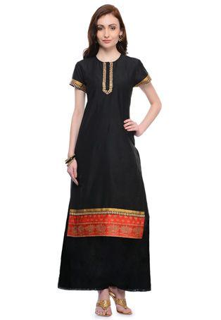 Black Art Silk Readymade Long Kurta with Palazzo