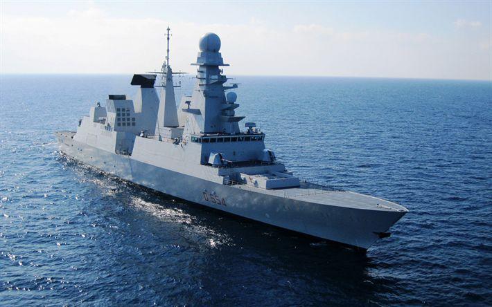 Télécharger fonds d'écran Caio Duilio, p 554, italien destroyer, navire de guerre, la mer, la Marine italienne, Andrea Doria classe