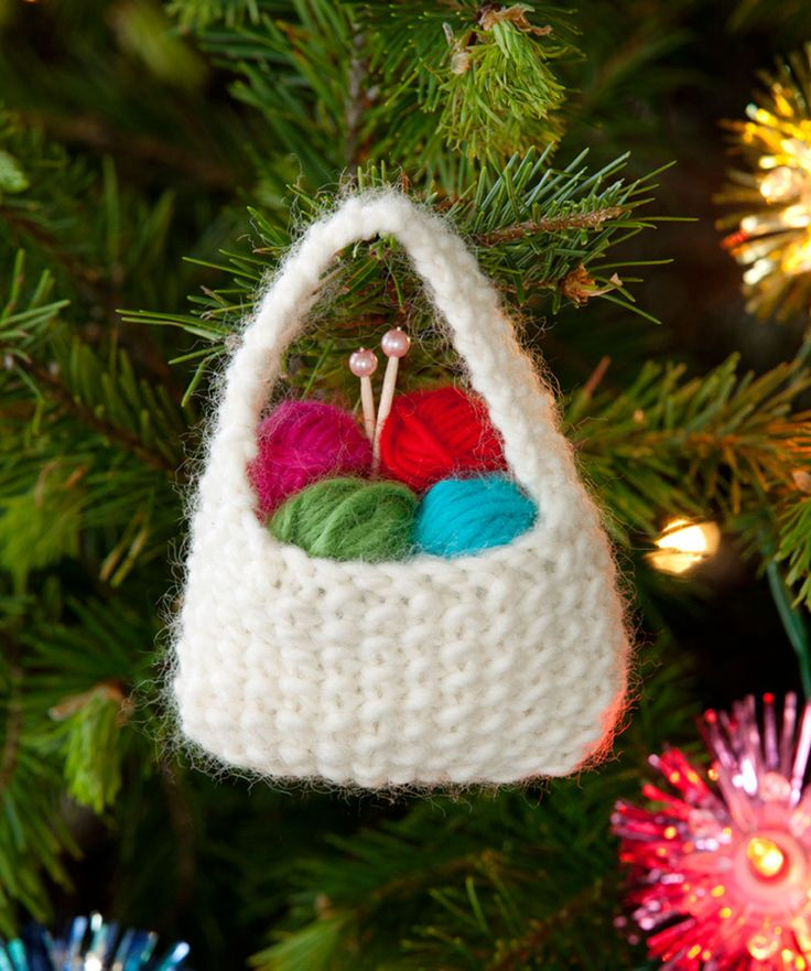 "Even though the free pattern for this ""Yarn Basket Ornament"" is knit, I had to pin it...it's so darling & would be easy to do in crochet!"