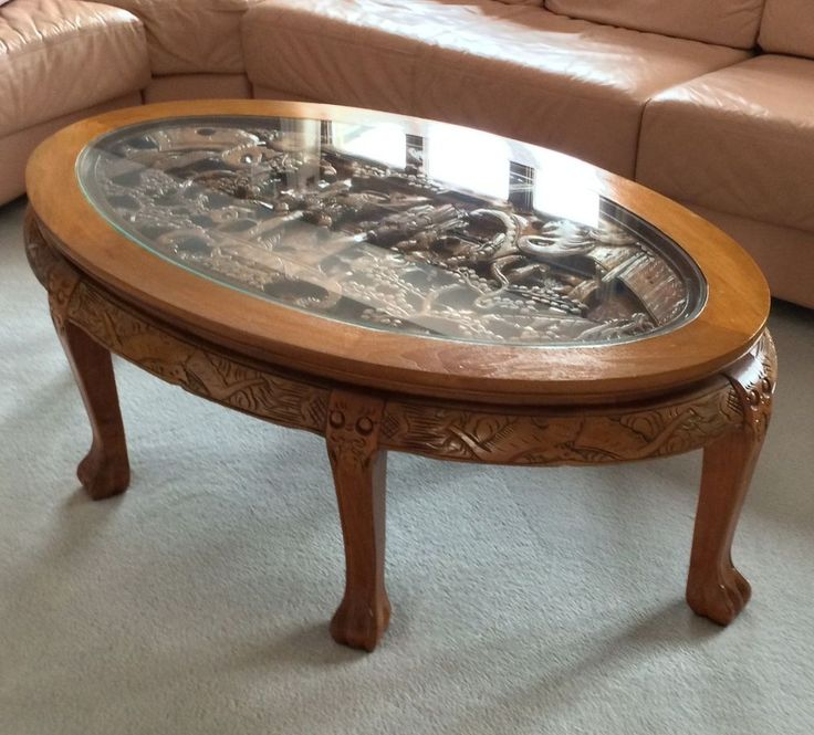 Amazing Hand Carved Chinese Coffee Table With Glass Top Great Condition A