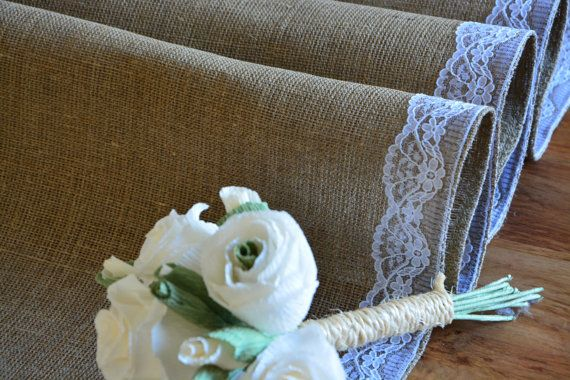Burlap RUSTIC Table Runner 100% burlap rustic by moniaflowers