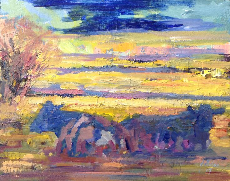 Evening landscape with cows 2