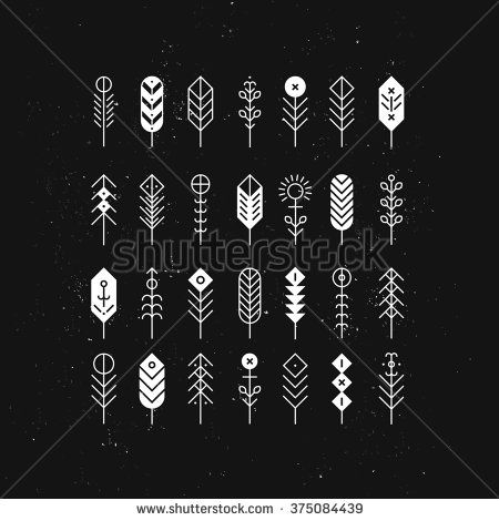 Line feathers and arrows, abstract geometric elements, pattern, ethnic collection, aztec icons, tribal art, for design logo, cards, backgrounds