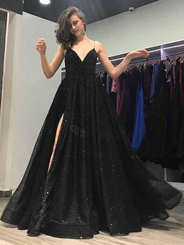 Unieke Avondjurken.Black Spaghetti Strap Side Slit A Line Long Prom Dress Dpb148 In