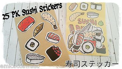 25 Sushi Japanese Food Kawaii planners Stickers,Scrapbook,Cute Paper Stickers
