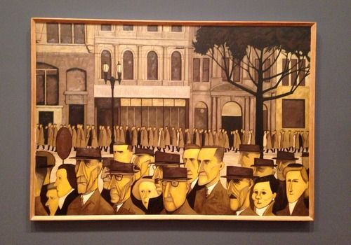 (Like every warm blooded human) I love John Brack's Collin Street - 5pm. Those browns are everything.  Ian Potter Gallery, NGV.