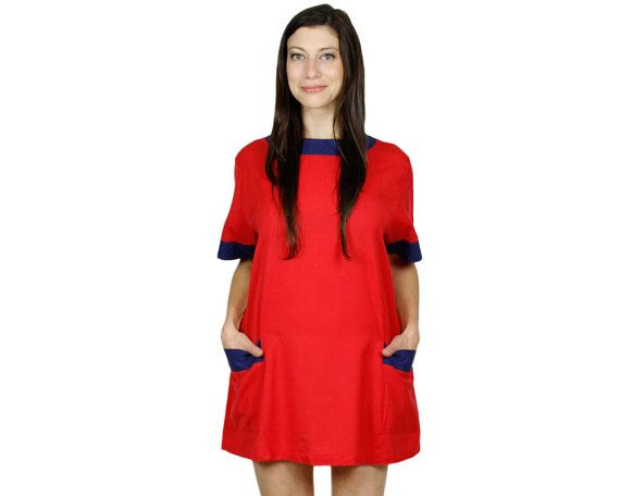 Red T Shirt Dress.  Vintage  60's Style Twiggy Tent Dress.  1960s Mod Mini Dress.  Short Shift Dress. Womens Clothing size XS S on Etsy, $34.02 AUD