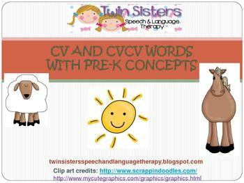 Apraxia Speech Therapy: CV & CVCV Words With Pre-K Concepts