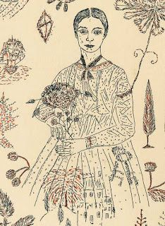 """The poet Emily Dickinson by Kiki Smith from """"Sampler"""" (Arion Press, San Francisco). """"Sampler"""" is a selection of two hundred poems by Emily Dickinson each paired with a print by Kiki Smith.  (Arion Press, San Francisco)"""