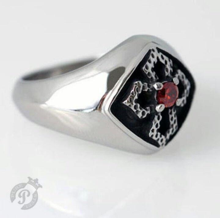 Solid Steel Cross Ring by PSJ