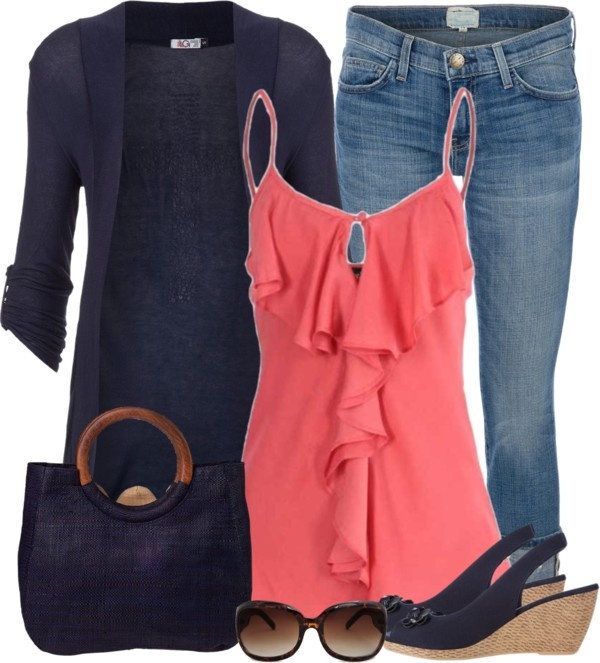 """Navy and Coral"" by denise-schmeltzer on Polyvore"