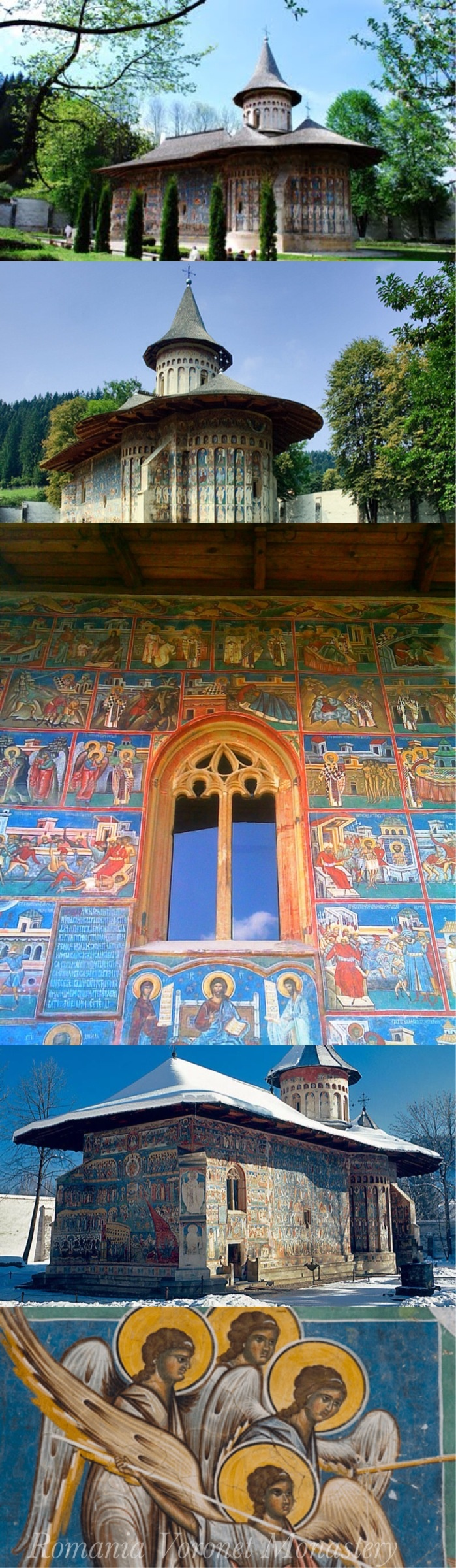 """Voroneț is a monastery in Romania, located in the town of Gura Humorului, Moldavia. It is one of the famous painted monasteries from southern Bukovina, in Suceava County. Between May and September 1488, Stephen III of Moldavia (known as """"Stephen the Great"""", in Romanian Ștefan cel Mare) built the Voroneț Monastery  to commemorate the victory at Battle of Vaslui. Often known as the """"Sistine Chapel of the East"""","""