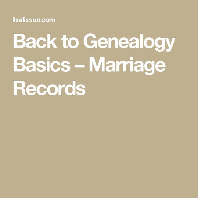Back to Genealogy Basics – Marriage Records
