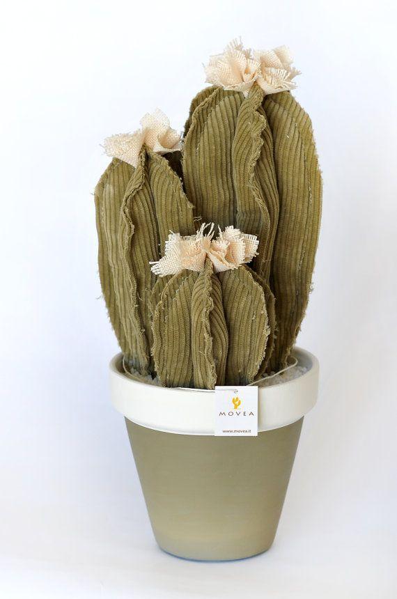 Pianta grassa artificiale tris cactus in tessuto di Moveadesign