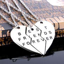 """Um conjunto de moda amizade jóias Vintage Sliver coração partido peças 3 """" melhores amigos para sempre """" colares e pingentes para mulheres / homens(China (Mainland))"""