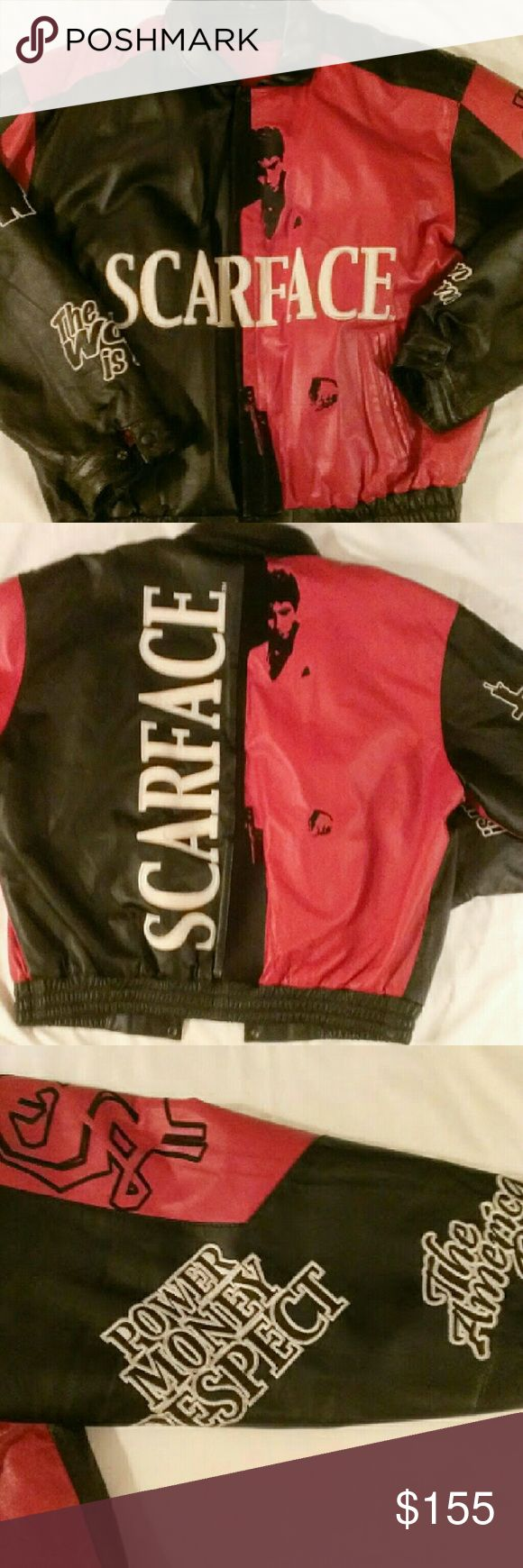 SCARFACE Leather Jacket / Coat This thing is AMAZING. Movie quotes down each arm. Al Pacino on front and back. Warm inner lining that zips out. Excellent condition with very little sign of wear. Genuine leather. Jackets & Coats Bomber & Varsity