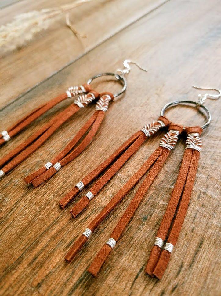 Leather Earrings, Dream Catcher Earrings, Leather Tassel, Leather Native American Earrings, Western Jewelry, Southwestern Jewelry,