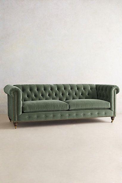 Velvet Lyre Chesterfield Sofa, Hickory - anthropologie.com