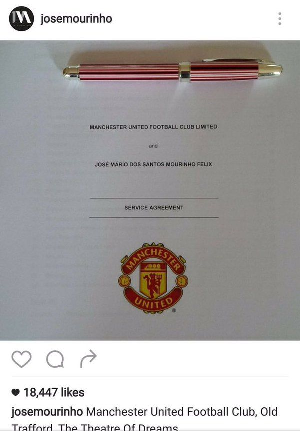 Jose Mourinho's Manchester United contract