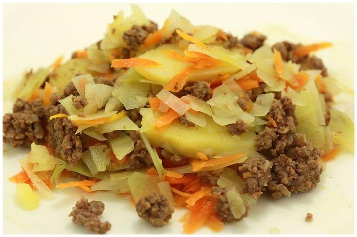 Amagergryde med kål og kartofler (egentlig irsk stouning i meget små stykker)