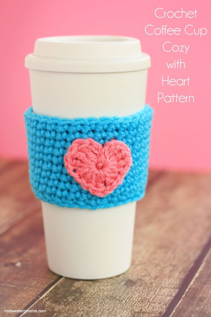 FREE crochet pattern for a coffee cup cozy with a heart. Simple and cute! Perfect for Starbucks cups.