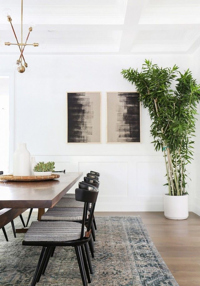 Minimalist boho dining room with black chairs, gold lighting, abstract artwork, and large bamboo plant.