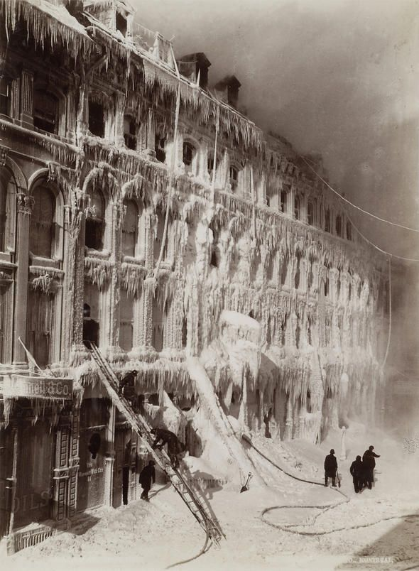 William Notman & Son, Building encased in ice after a fire, 65-83 Little St. James Street, Montreal, 1888.