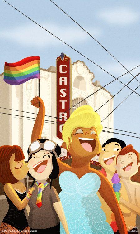 Gay Pride Card, carte de Pride Parade, Castro Theater, San Francisco, LGBT vierges, cartes de voeux - « Pride »