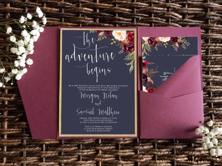 Navy and Marsala wedding invitation. Navy and burgundy wedding invite pocket fold. Gold and merlot wedding invitation from Unica Forma