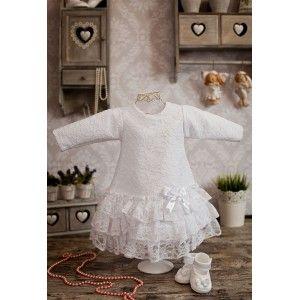 Sukienka do chrztu Emi z długim rękawkiem zapinana na zatrzaski. #sukienka #chrzest #nachrzest