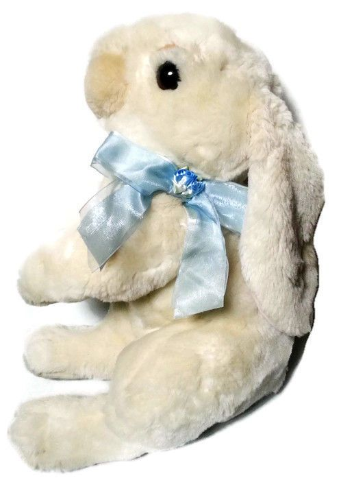 "Commonwealth Bunny Rabbit Plush Large Floppy Cream Blue Ribbon Rosettes 17"" #CommonwealthToys #easterbunny #plush"