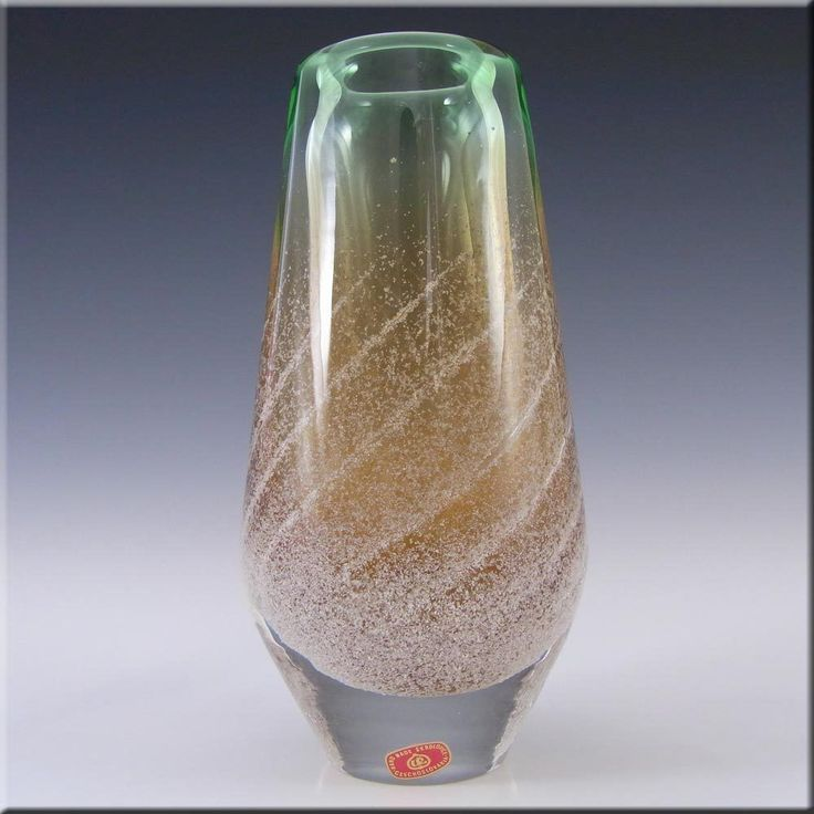 Skrdlovice Labelled Czech Glass Vase Ladislav Palecek #8318/18 #Skrdlovice