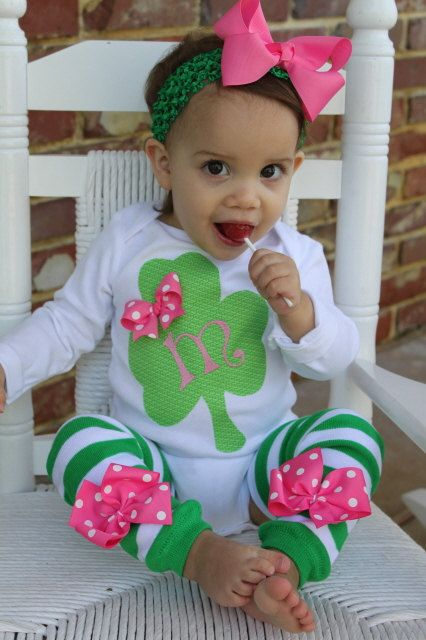 St. Patrick's Day Outfit -- Irish Sweetie -- Shamrock personalized onesie -- hot pink and green leg warmers -- order by 3/2. $34.95, via Etsy.
