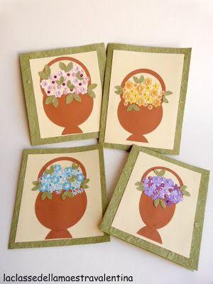 Cestini fioriti per la festa della mamma!!!               Per il biglietto ho utilizzato la carta gelso e poi ho fustellato fiori e fogli...