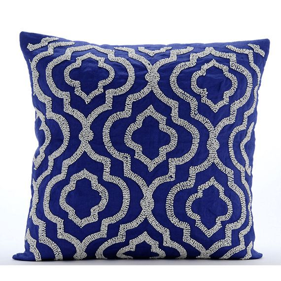 Decorative Throw Pillow Covers Accent Pillow Couch Sofa Bed Pillow Case 26x26 Inch Royal Blue Linen Pillow Cover Embroidered Royal Lineage  ______________________________________________________________________    Pillow Cover is made on a Royal Blue Color Linen Fabric embroidered intricately with white beads to create a geometric pattern.    The back of the pillow is the same Royal Blue Linen with a flap covered zipper for clean look and easy removal.    Imp: All my pillow covers are sold…